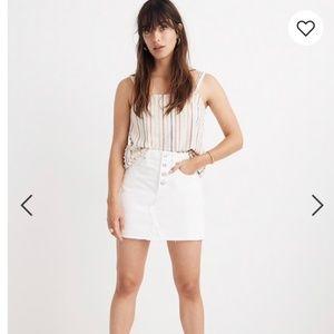 Madewell Tile White Rigid Denim Skirt /W 23